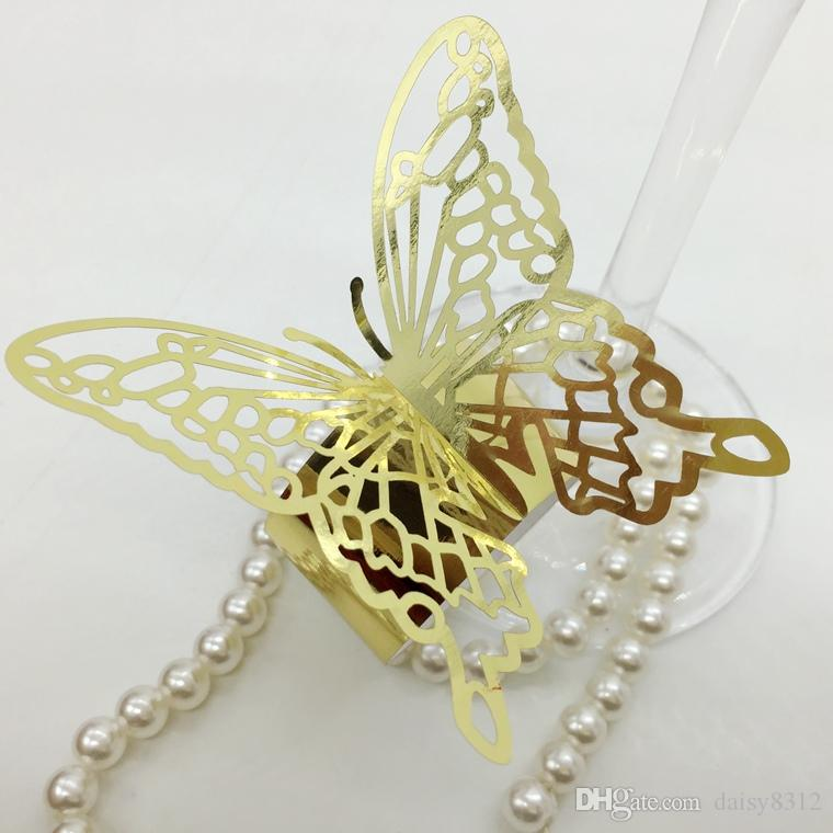 F8 Laser Cut Hollow Butterfly Paper Card Napkin Ring Serviette Buckle Holder Hotel Wedding Party Favour Decoration