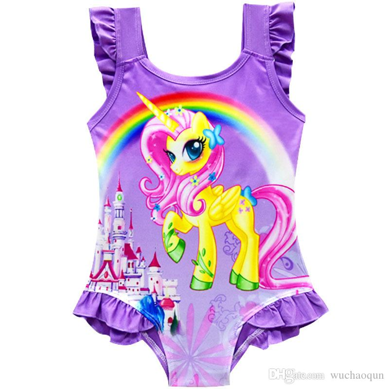 6 design INS Unicorn Swimwear One Piece Bowknot Swimsuit Bikini Big Kids Summer Cartoon Infant Swim Bathing Suits Beachwear BY0197