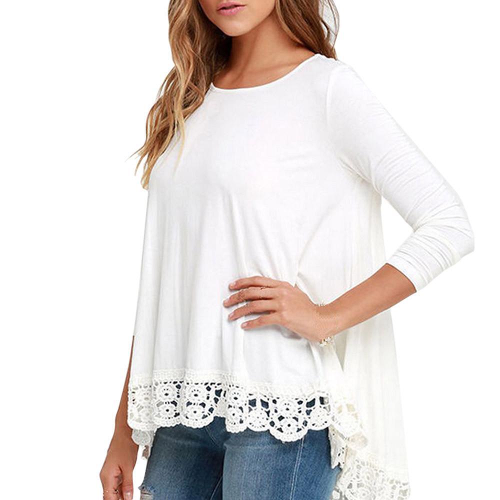 2a70d516db766 Compre Encaje De Mujer De Manga Larga Camisa Blanca Blusa Informal Tops De  Algodón Sueltos Camisas Blancas Blusas Mujer De Moda Camisetas Mujer Blusas  A ...