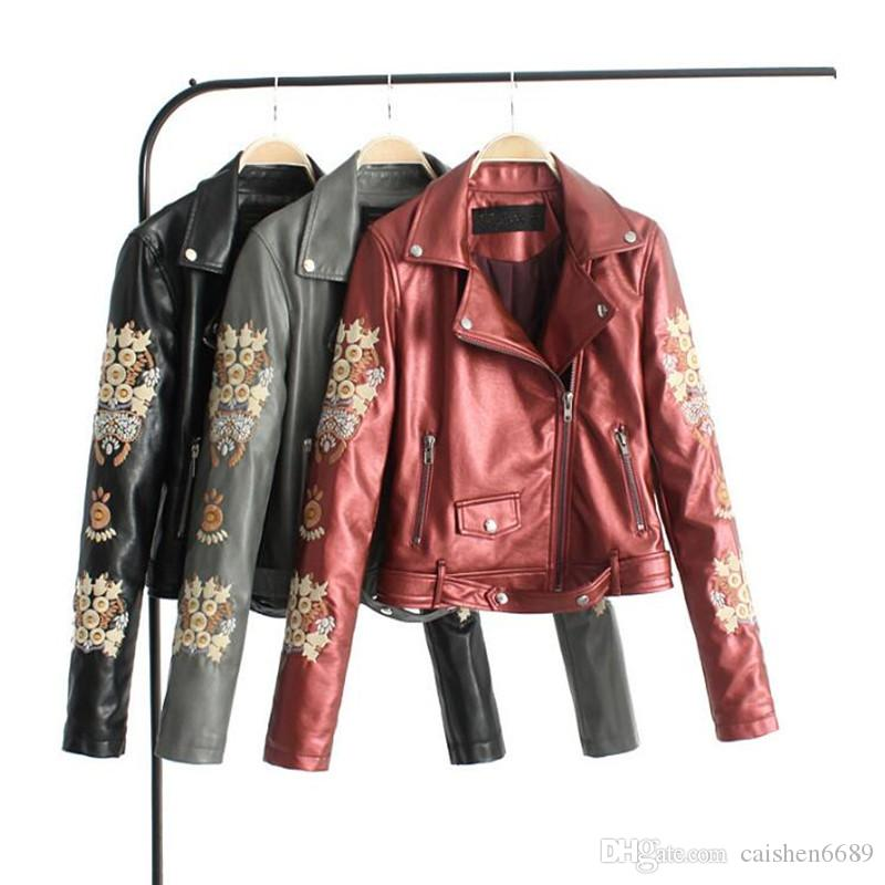 Noble and Elegant embroidery leather jacket Women clothing 2018 new high quality washed PU fashion jacket lapel belt motorcycle jacket coat