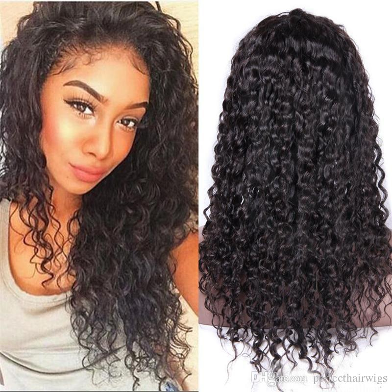 Super Sexy Top Virgin Kinky Curly Long Wigs Natural Soft Human Hair Full Lace Wigs Brazilian Glueless Lace Front Wigs for Black Women