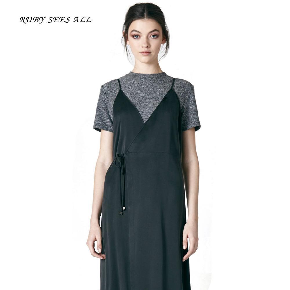 Below Knee Women Solid Dress Casual Official Banquet Abstract Slim ... ee1dd7b44