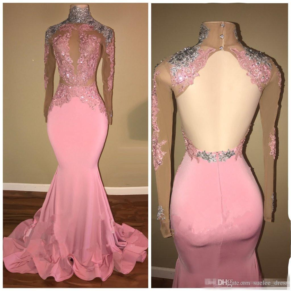 2018 Pink Formal Evening Dresses Mermaid Sheath Pink Silver Sequins Lace Appliqued Prom Party Gown Illusion Bodice Sexy Back Long Sleeves