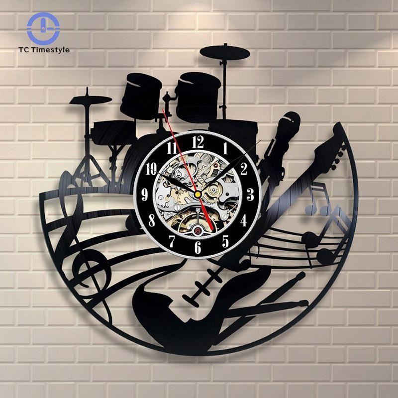 68b47973033 Compre CD Record Wall Clock Design Moderno Tema Musical Decoração De Casa  Relógios De Arte Para Sala De Estar Quarto Quarto Relógios De Baibuju8