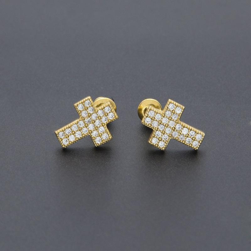 9d451baba76e Compre Cruz Stud Pendientes Mens Hip Hop Pendiente Bling Bling Iced Out  Micro Pave Cubic Zircon CZ Crucifijo Pendientes Para Mujer Rock Jewelry  Barato A ...
