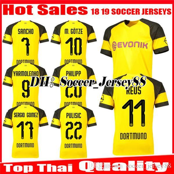 4b5761d29 2019 2018 2019 REUS Soccer Jersey SANCHO Home 18 19 BATSHUAYI PHILIPP  INTERNATIONAL KAGAWA AUBAMEYANG YARMOLENKO Jerseys Uniforms Football Shirts  From ...