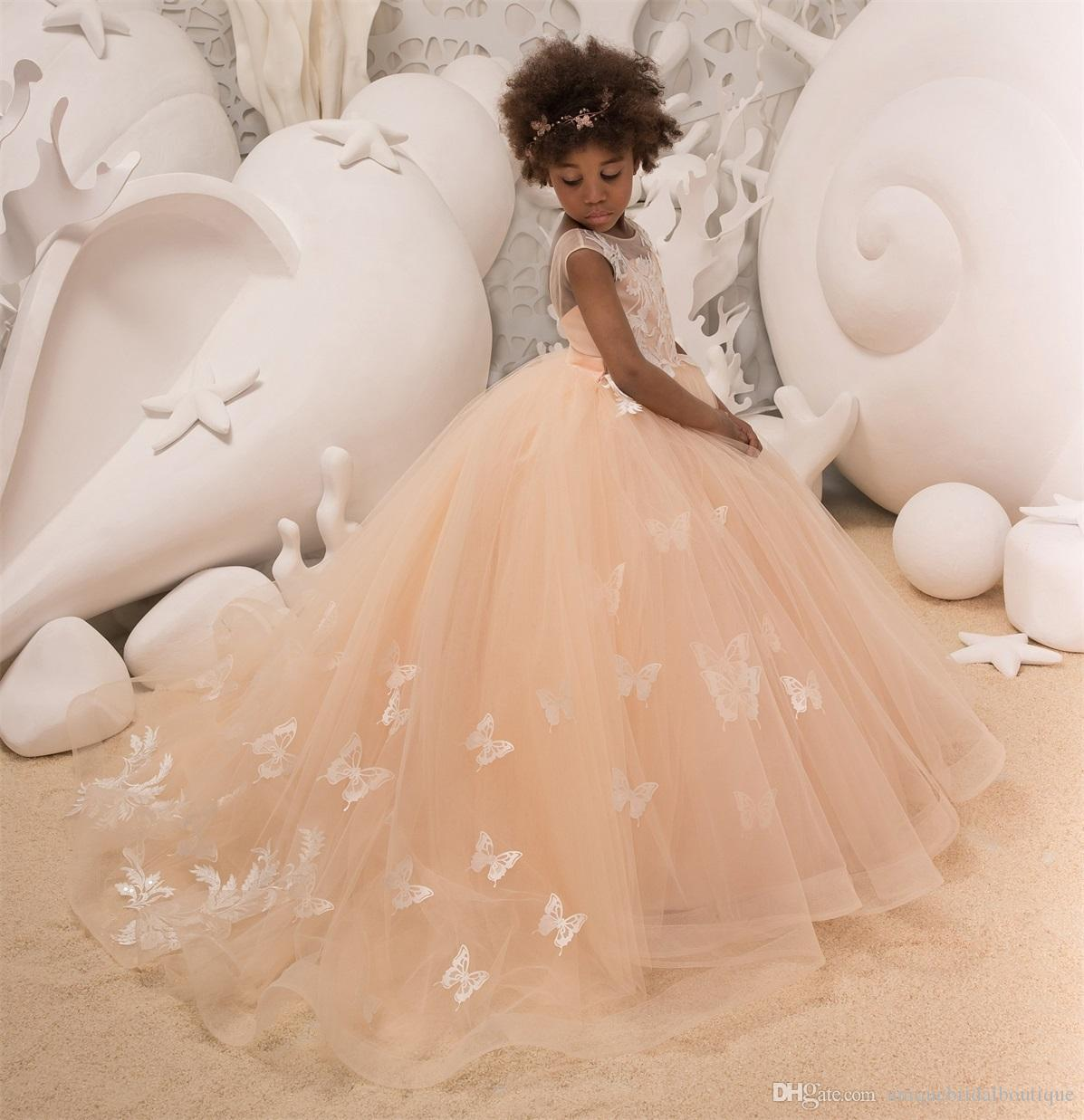 98593bb0049 Peach Flower Girls Dresses 2018 Butterfly Lace Appliques Ballgown Girls  Birthday Party Dress Jewel Neck Sweep Train Custom Made Flower Girl Ivory  Dresses ...