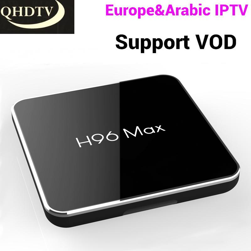 With 1 Year QHDTV Code 4GB 32GB H96 MAX S905X2 French IPTV Set Top Box  Support Europe Arabic Italy Dutch Spain France 4K TV Box