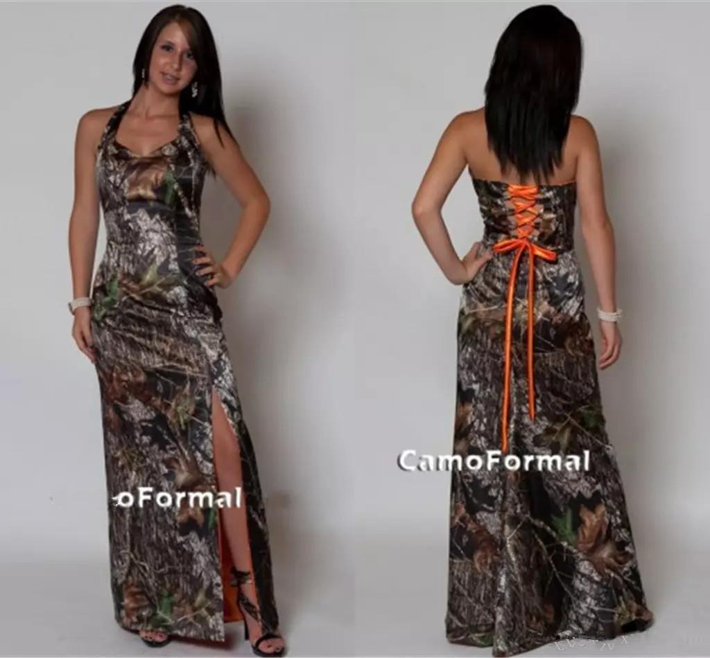 Vintage Camo Brautjungfernkleider Split Side Lace-up zurück Camouflage Print lange bodenlangen Plus Size Land Hochzeit formelle Kleider