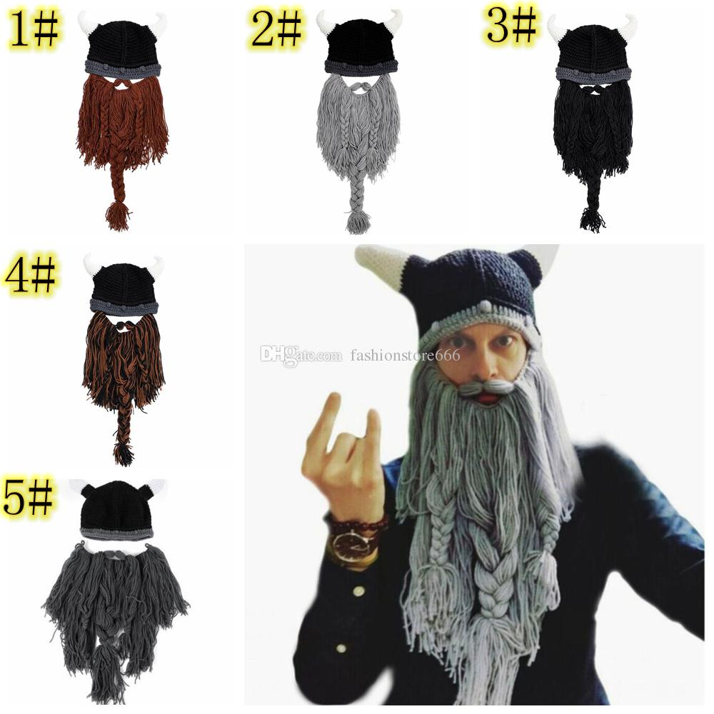 226e07d57 Knitted Beard Beanie horn Mask cap Handmade Barbarian Vagabond Funny  Halloween Hat Chirtsmas gift Crazy Ski pirate Crochet Caps 12pcs