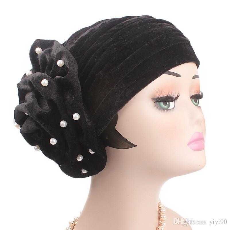 Muslim Women Pearl Big Flower Velvet Turban Cap Chemo Beanie Hat For