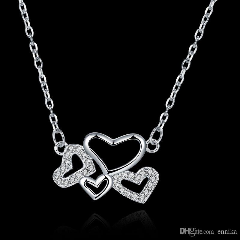 Sterling Silver 925 Necklace Lady Party Jewelry Pure Silver Four Hearts Pendant Necklace With Zircon n075