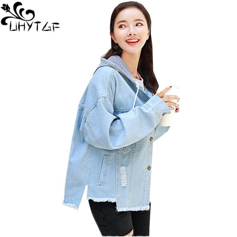 787ed2448c2c0 UHYTGF Harajuku Denim Jacket Women Spring Autumn 2018 Fashion BF Fringed  Hooded Loose Plus Size Jeans Jacket High Quality 508 Jacket Online Bomber  Leather ...