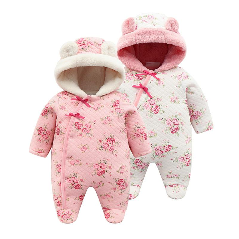 beef53fb4 2019 Floral Coral Fleece Winter Newborn Baby Girl Footies Clothes Thicken  Warm Hooded Jumpsuit Christmas Body Suits Girls Onesie From Paradise02, ...