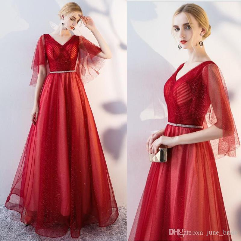 Elegant 2018 Hottest Robe De Soiree Evening Dresses V Neck Cape ...