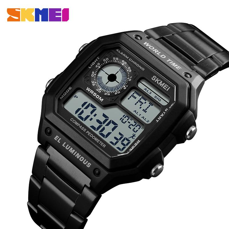 Professional Sale Skmei 1373 Led Digital Watch Men Waterproof Calorie Pedometer Compass Multifunction Fashion Outdoor Sport Clock Mens Wristwatch Digital Watches