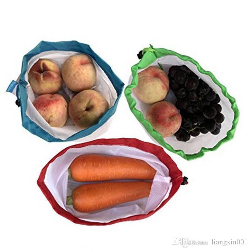 Almacenamiento en la cocina Paquete de 5 Bolsas de productos reutilizables Malla de cuerda negra Vegetal Fruta Juguetes Bolsa de almacenamiento Malla duradera poliéster fuerte luz pesar