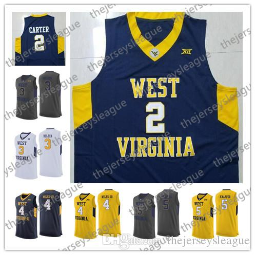 newest collection a1b4d 2e603 West Virginia Mountaineers #2 Jevon Carter 3 James Bolden 5 Brandon Knapper  Grey Navy Yellow Black Stitched NCAA College Basketball Jersey