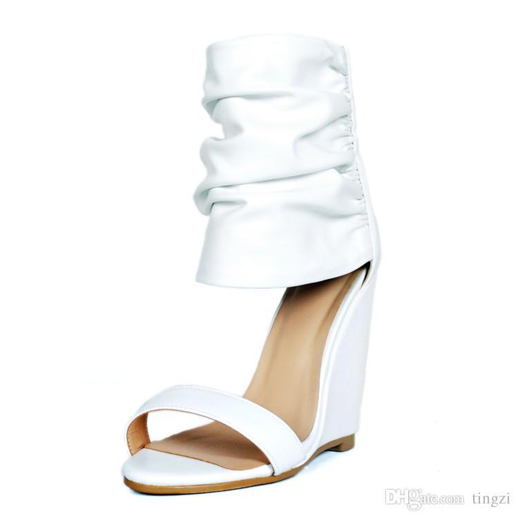 3eddebb4d81b Acheter Femmes Blanches Compensées Sandale Talons Hauts À Bout Ouvert  Stilettos Bottes Plus Size Designer Chaussures Femmes De Luxe 2018 Summer  Wedge ...