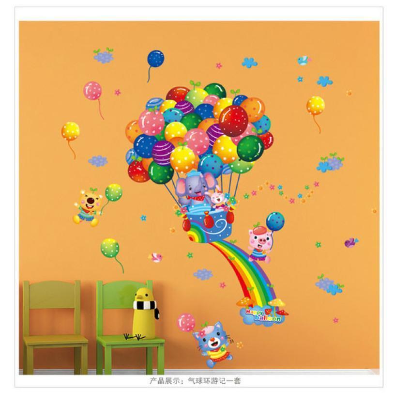 Ballon À Air Chaud Dessin Animé Enfants Stickers Muraux Enfants Chambre Décoration DIY autocollant chambre bébé chambre pour enfants
