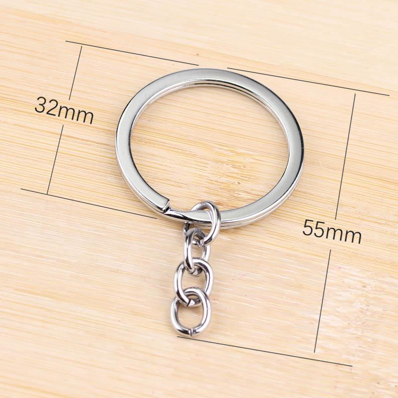 25mm Metal keychain Rhodium Plated Alloy Key Chains Simple Key Ring Free  Shipping