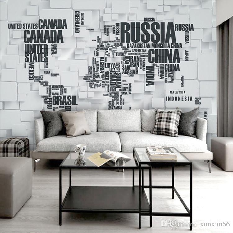 3D retro brick wall large mural personality three - dimensional letter wallpaper world map living room television background wallpaper