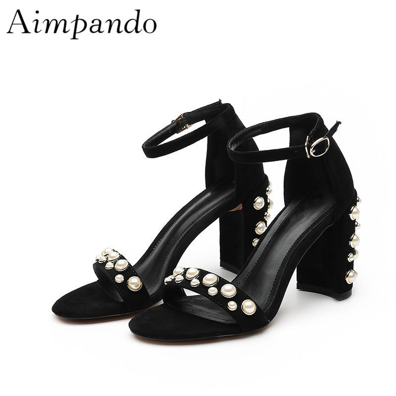 32b04bd5a All Matched Chunky Heel Sandals Women Ankle Strap Open Toes 8cm Black Red  Pearl Decor Summer Sandalias Chaco Sandals Jack Rogers Sandals From ...