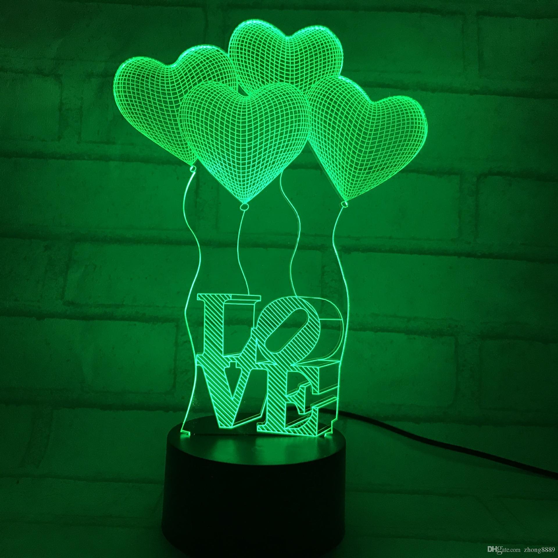2018 neue 3d led lampe licht usb abstrakte nachtlicht bunte liebe ballonform lampe für hochzeit innovative büro party decor geschenk vorhanden