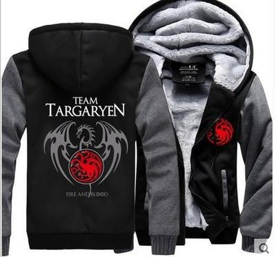 winter team targaryen fire and blood Men women Warm Fleet Hoodies autumn clothes sweatshirts Zipper jacket fleece hoodie USA EU plus size