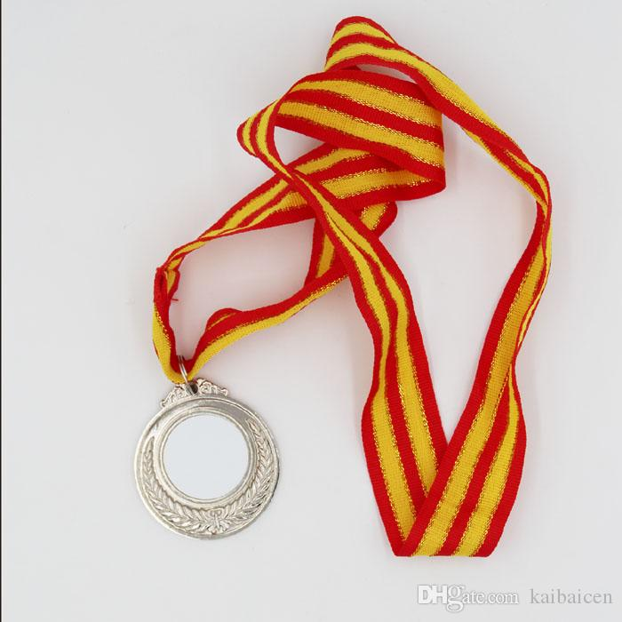 패션 DIY 빈 승화 열 금형 프레스 기계 장식 선물 2018에 대 한 스트랩과 함께 알루미늄 골드 실버 coppery 메달