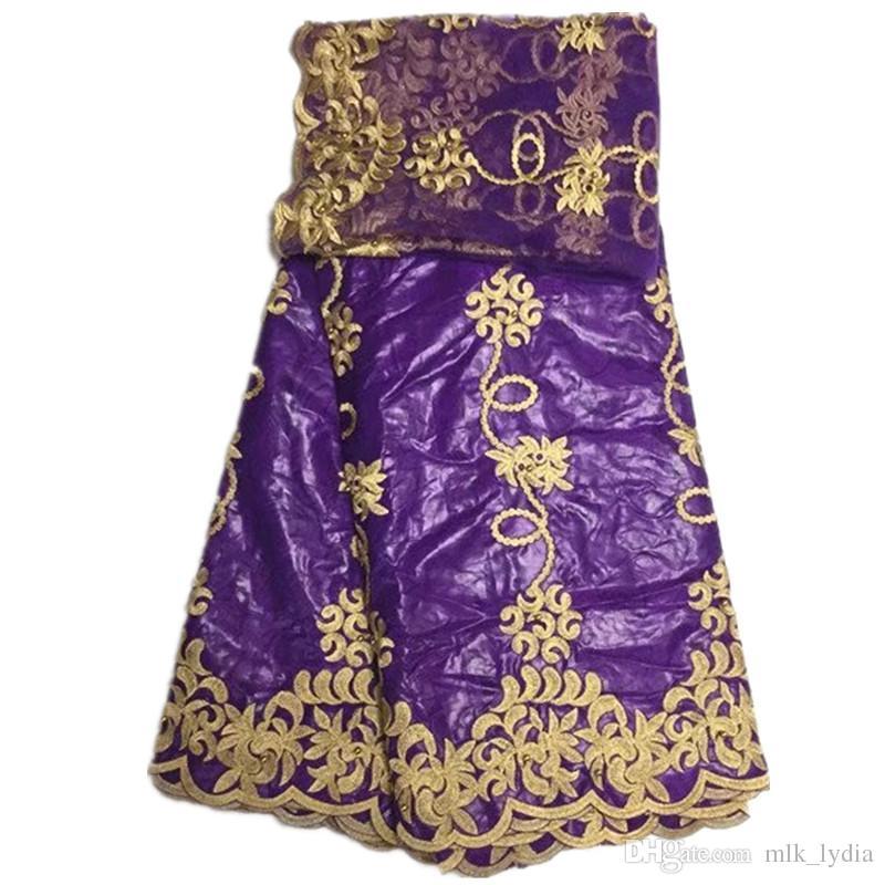 Tela africana del cordón guinea bazin getzner Venta caliente en púrpura Tela de encaje Bazin africano de alta calidad envío gratis