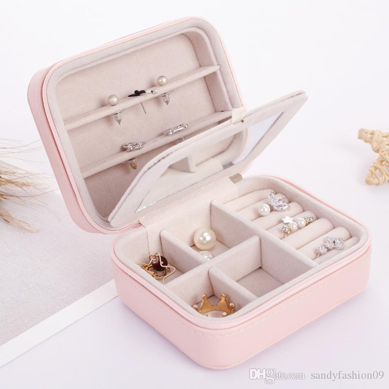2019 Small Jewelry Box Zipper Leather Jewelry Storage