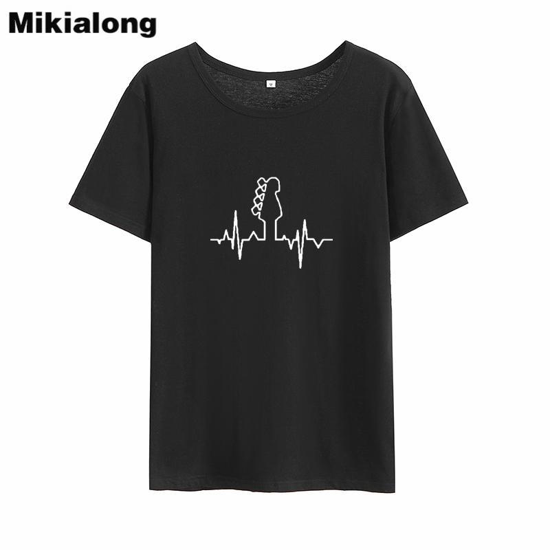 219b0156071 Acheter Mikialong Guitare Musique Punk Rock Tshirt Femmes 2018 Été Harajuku T  Shirt Femmes Top Lâche Coton Tee Shirt Femme Dropshipping De  34.13 Du ...