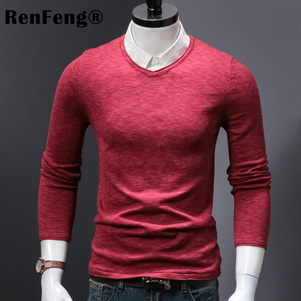 29795af7637e 2019 2018 Autumn New Sweater Men Slim Fit 65% Pure Cotton Pullover Man  Knitted Sweaters Male Fashion Knitwear Pull Homme Mens From Baimu