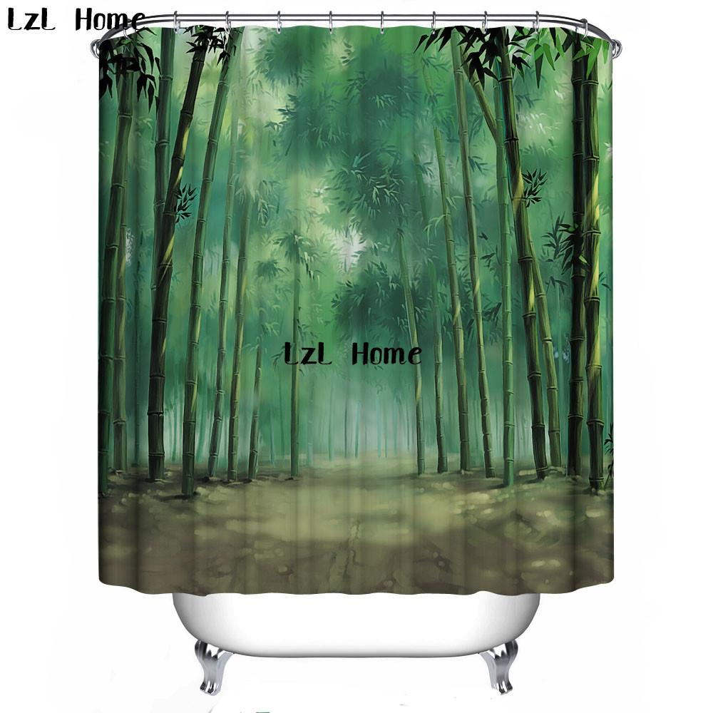 LzL Home 3D Shower Curtain Nature Scenery Eco Friendly Bath Bathroom Waterproof Products Screen Curtains