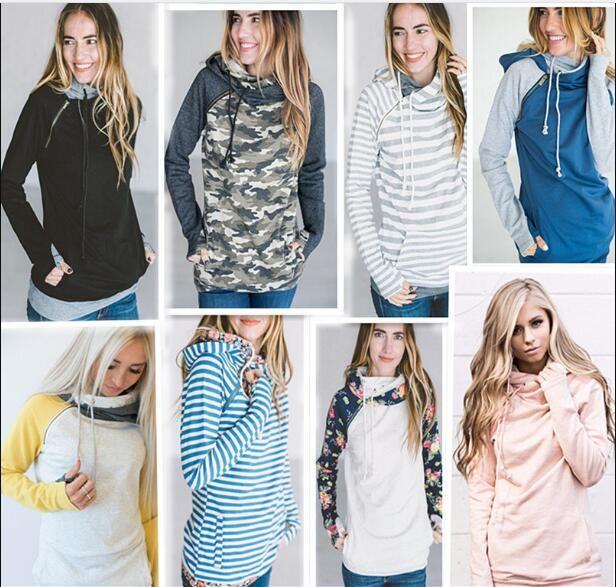 Le donne Finger con cappuccio Digital Print Coats Zipper Lace Up manica lunga Pullover Inverno Camicie Outdoor Felpe Outwear 9 Styles
