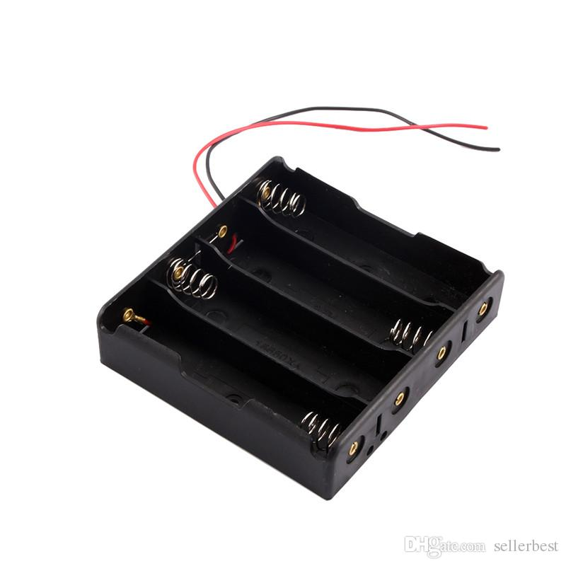 New Black Plastic 4x18650 Battery 3.7V Clip Holder Storage Box Case With Wire Lead