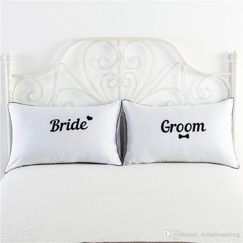 1 paio / set Bianco King Queen Federe Pillow Love Coppia Federa His and Hers Copertura del cuscino personalizzato Anniversary Regalo di nozze