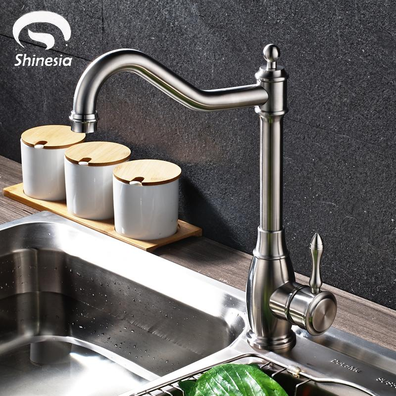 2019 Nickel Brushed Stainless Steel Kitchen Sink Faucet Swivel Spout