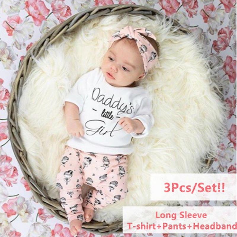 09ef4c0c 2019 Newborn Infant Baby Girls Clothes Set Long Sleeve Daddy'S Little Girl  T Shirt Tops+Pants+Headband Toddler Clothing Outfit From Paradise13, ...