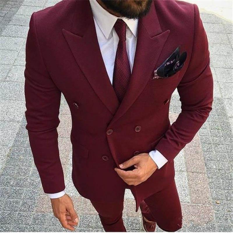 Compre Borgoña Vino Rojo Trajes De Los Hombres De Doble Botonadura Blazer  Novio Esmoquin Boda Para Hombre Traje Slim Fit Moda Terno Masculino Chaqueta  + ... cebac93a8c7