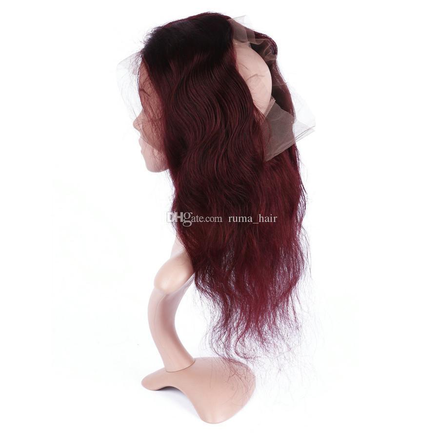Capelli Onda del corpo umano Pre a pizzico 360 Pizzo frontale con 99j Capelli Bundles estensione brasiliana dei capelli del Virgin del vino rosso con pizzo frontale 360