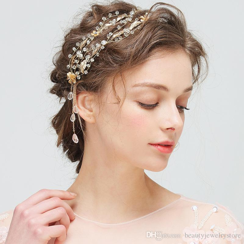 Shiny Crystals Two Lines Wedding Headband With Gold Flowers Leaves