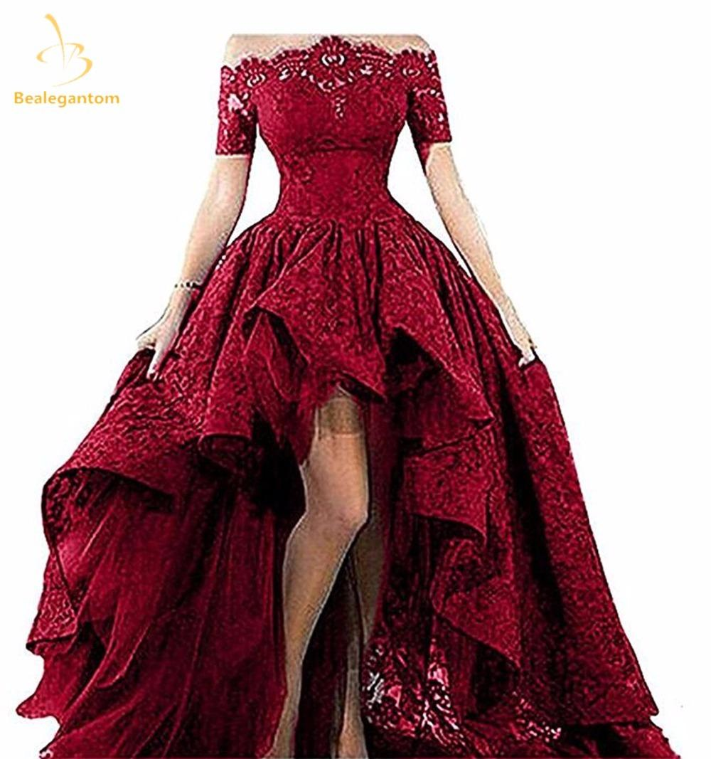 2019 Bealegantom Black Lace Strapless Off The Shoulder Short Sleeves High  Low Prom Dresses 2018 Evening Gowns Vestido Longo QA1224 C18111601 From  Linmei0005 ... 2d1e1236bc7b
