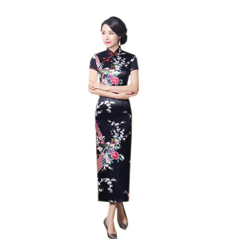 77bd05011 Vestido largo chino 6XL Vestido tradicional chino Vestido largo Mujer  Vestido largo Elegante Slim Rayón Qipao LGD0708