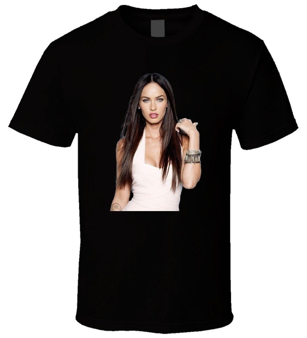 79af092cbcdb4 Compre Camiseta Casual De Verano Camiseta Manga Corta De Cuello Redondo  Para Hombre De Verano De Buena Calidad Camiseta Negra Para Hombre Megan Fox  Poaag ...