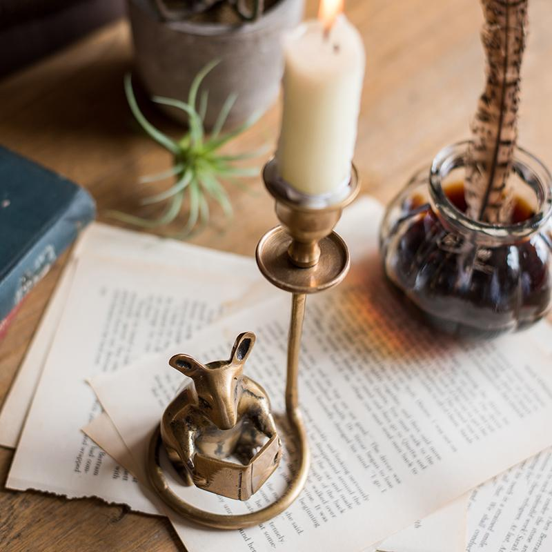Bureau en laiton fait main chandelier de hamster étude Décoration Vintage Art Deco