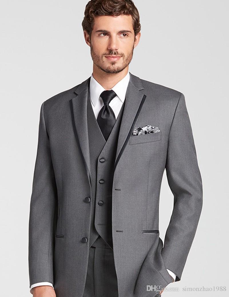 3e1ba7b9517c6 Custom Made Grey Men Slim Fit Suits 3 Pieces Business Party Tuxedo Groom  Wedding Suits Design 2018 Fashion Male Suits