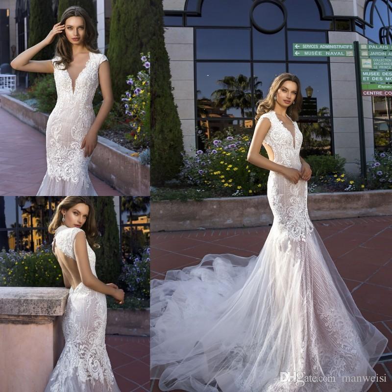 Luxury Tina Valerdi 2019 Mermaid Wedding Dresses Crystal Cap Sleeves ...