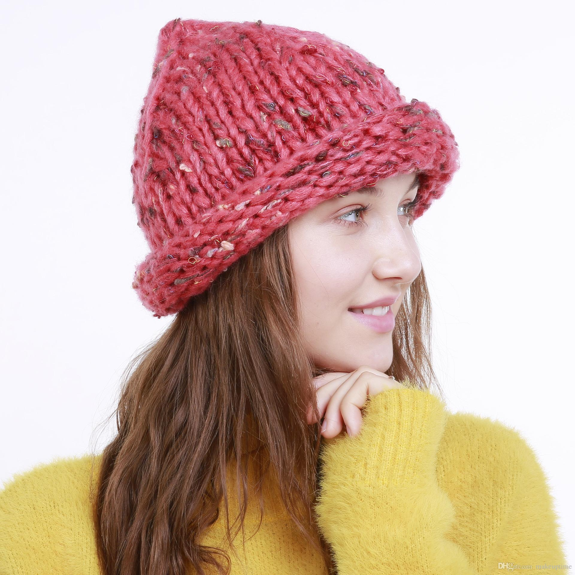 Hot Sale Popular New Autumn And Winter Women S Thick Wool Hat Knit Hat  Short Brim Hats For Summer Hats Funny Hats From Makeuptime 1120319ca72